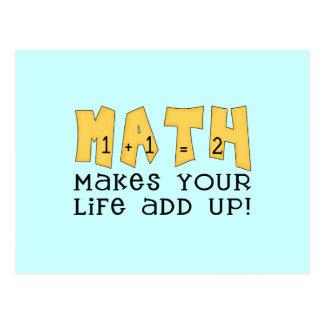 Mathe lässt Ihr Leben T-Shirts und Geschenke oben Postkarte