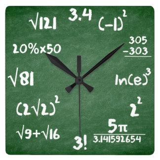 Mathe-Uhr für Mathematik-Liebhaber Quadratische Wanduhr