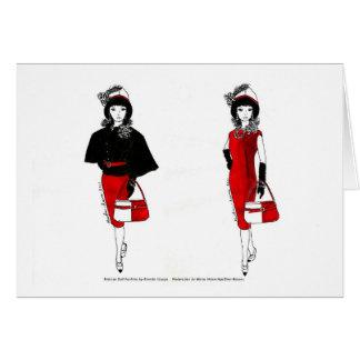 Matisse Puppen-Mode-Aquarell - schwarzes Kap Karte