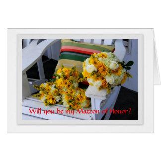 Matrone der Ehre, Blumensträuße, Adirondack Stuhl Karte