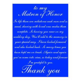 Matrone der Ehre danken Ihnen Postkarte