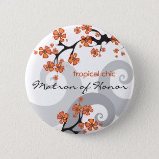 MATRONE der EHREtropischen Blumen Wedding Knopf Runder Button 5,1 Cm