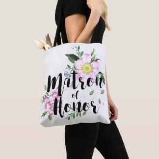 Matrone Ehrenrosa-der BlumenAquarell-Hochzeit Tasche