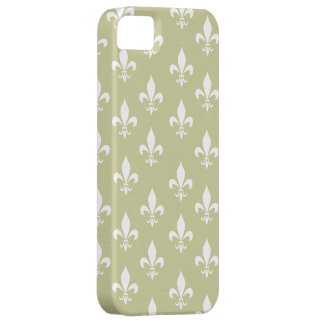 Matt-Gold u. weißes Lilien-Muster iPhone 5 Cover