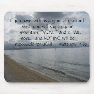 Matthew-17:20 - motivierend Inspirational Zitat Mauspad