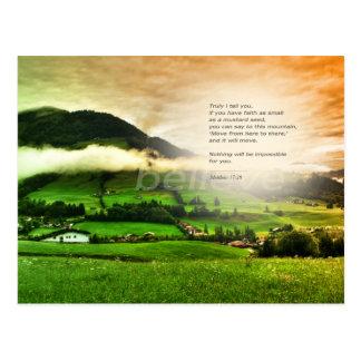 Matthew 17:20 Move mountains bible verse sunset Postkarte