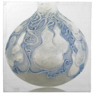 Mattierter blauer Kunst-Dekovase mit Frucht Stoffserviette