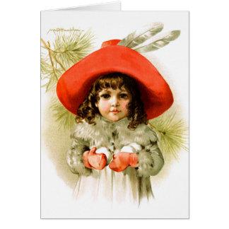 Maud Humphrey: Winter-Mädchen mit Schneebällen Karte