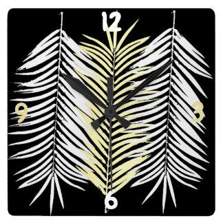 Maueruhr Palmenbaumblätter Quadratische Wanduhr