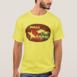 Maui Hawaii gelber Surfer bewegt Kunst-Typt-stück T-Shirt