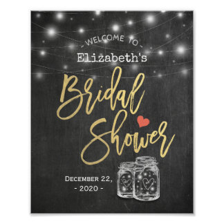 Maurer-Glas beleuchtet Tafel-Brautparty-Willkommen Poster