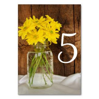 Maurer-Glas und gelbe Gänseblümchen, die Karte