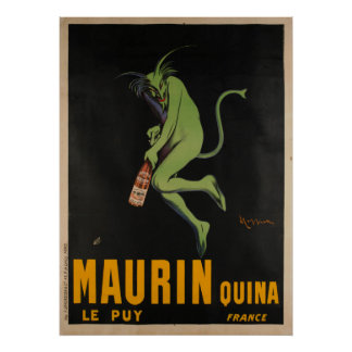 Maurin Quina Cappiello Wermut Apertif Vintag Poster