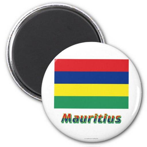 Mauritius-Flagge mit Namen Magnete