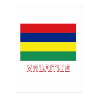 Mauritius-Flagge mit Namen Postkarte