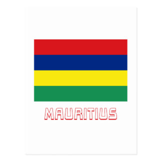 Mauritius-Flagge mit Namen Postkarten