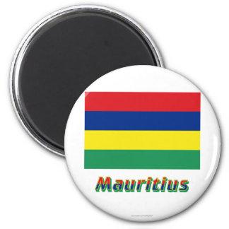 Mauritius-Flagge mit Namen Runder Magnet 5,1 Cm