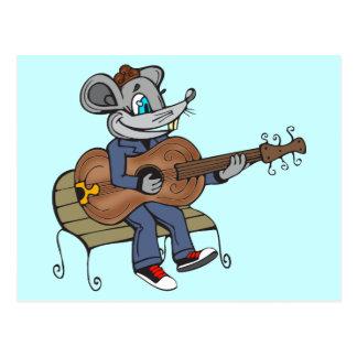 Maus, die Gitarre spielt Postkarte