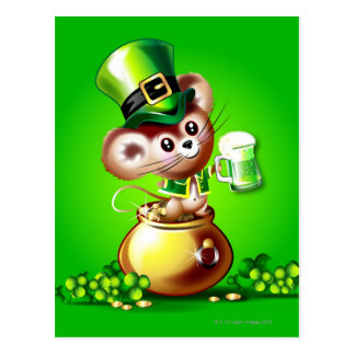 Maus im Goldschatz, der halbes Liter grünes Bier Postkarte