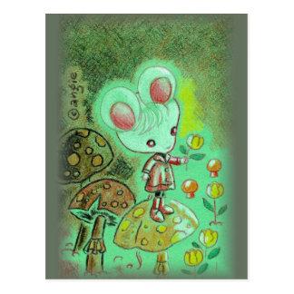 Maus in den Stiefeln stehend auf Pilz Postkarten