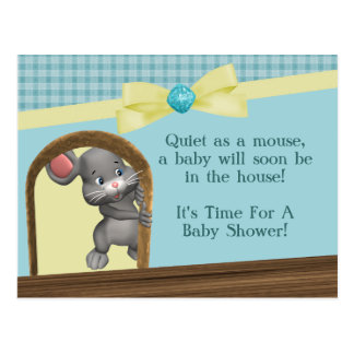 Maus in der Haus-Babyparty, dem Grün u. dem Gelb Postkarte