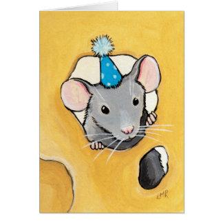 Maus in einem blauen Party-Hut - leere Karte