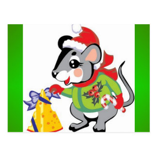 Maus, Käse, frohe Weihnachten Postkarte