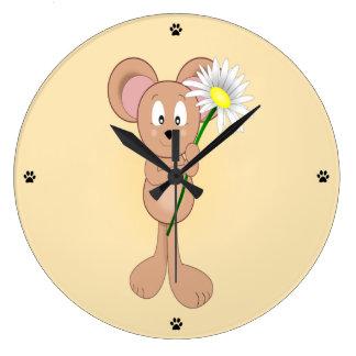 Maus mit Blume Große Wanduhr