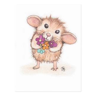 Maus mit Blumen-Blumenstrauß Postkarte