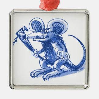Maus mit hartem Plankenblau Silbernes Ornament