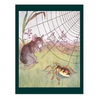 Maus, Spinne und Netz in der Wiese Postkarte