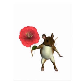 Maus und camelia postkarte