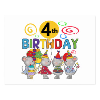 Mäuse4. Geburtstags-T - Shirts und Geschenke Postkarten
