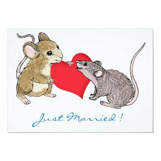 Mäuse in der Liebe mit dem Herzen gerade 12,7 X 17,8 Cm Einladungskarte
