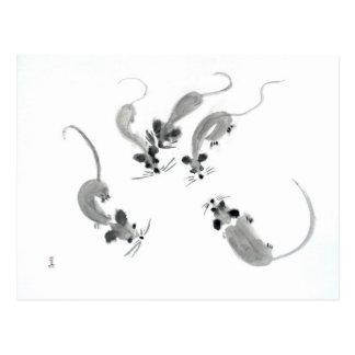 Mäuse - orientalische Art Postkarte