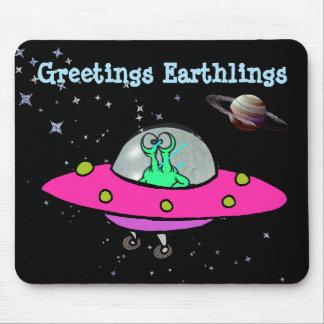 Mausunterlage mit alien-Raumschiff Mousepad