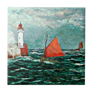 Maxine Maufra Kunst: Zurück zu Fischerbooten Kleine Quadratische Fliese