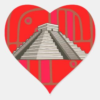 Maya Pyramide Mayan pyramid Herz-Aufkleber