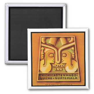 Mayagasthaus-Guatemala-Reise-Plakat Quadratischer Magnet
