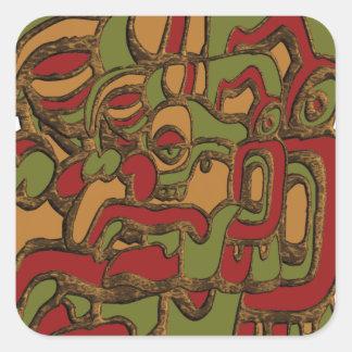 Mayahieroglyphen-Entwurf Quadratischer Aufkleber
