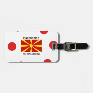 Mazedonien-Flagge und mazedonischer Sprachentwurf Kofferanhänger