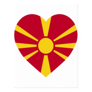 Mazedonien-Flaggen-Herz Postkarte