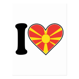Mazedonien-Herz-Flagge Postkarte