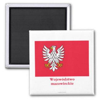 Mazowieckie - Masovia Flagge mit Namen Quadratischer Magnet