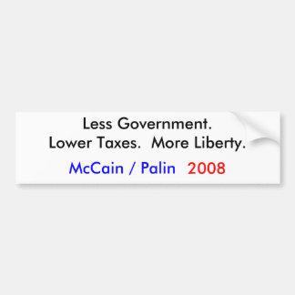 McCain/Palin 2008 = weniger Regierung Autoaufkleber