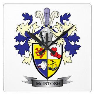 McIntosh Familienwappen-Wappen Quadratische Wanduhr