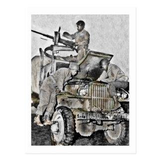 Mechaniker, die an LKW WWII arbeiten Postkarte
