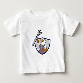 Mechaniker-kahler Adler-Schlüssel-Wappen-Cartoon Baby T-shirt