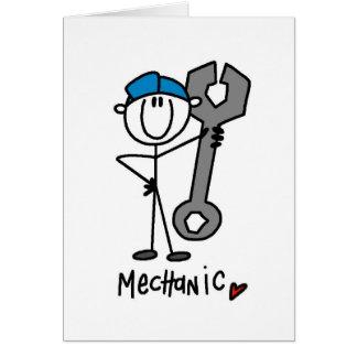 Mechaniker mit Schlüssel-Strichmännchen Karte