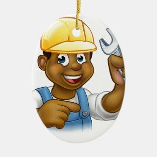 Mechaniker oder Klempner mit Schlüssel-Cartoon Keramik Ornament